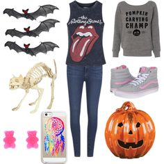 Putting up Halloween decorations by brookebr5 on Polyvore featuring Topshop, Paige Denim, Vans and Casetify