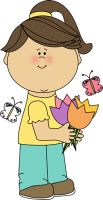 Girl with Spring Tulips Clip Art - Girl with Spring Tulips Image