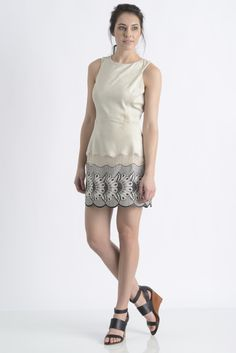 Liberty Garden Suede Embroidered Shift Dress   South Moon Under