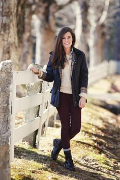 Barbour Beadnell jacket. olive and oak cream sweater. ralph lauren oxford. j crew oxblood pants and statement necklace. bass lace-up boots. on Sarah Vickers (of kjp)