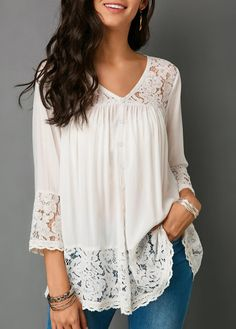 Lace Patchwork Button Up White Blouse On Sale. Shop this blouse for yourself. Trendy Tops For Women, Blouses For Women, Loose Shirts, Printed Blouse, Shirt Blouses, Lace Blouses, Formal Blouses, Lace Tops, Outfits