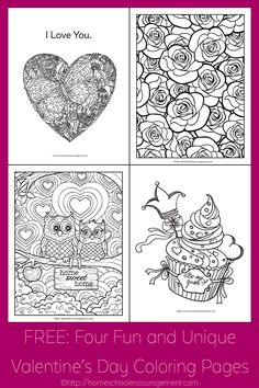 Free Four Fun And Unique Valentines Day Coloring Pages