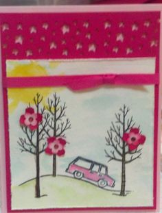 SU White Christmas stamp set used as a birthday card.  Melon Mambo, Pink Pirouette, Hello Honey, Pear Pizzazz