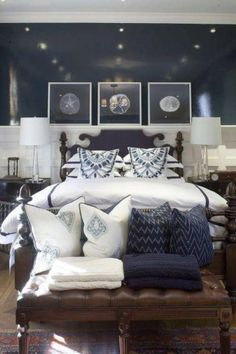 Coastal bedroom: love the navy cable knit blanket and the navy chevron cushion fabric might be my next curtains.