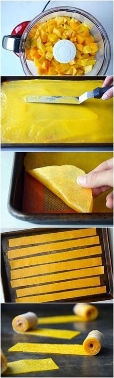 homemade fruit roll ups! all you need is a mango! purée, spread, and bake 3-4 hours at 175 degrees Fahrenheit