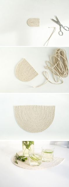 DIY Seil Untersetzer Mat - new site Diy Simple, Easy Diy, Rope Crafts, Diy And Crafts, Party Crafts, Diy Projects To Try, Craft Projects, Diy Inspiration, Ideias Diy