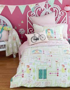 Hiccups (Mary Mary Bedlinen) Available Myer  This is what I have for Baby's room - maybe nice green curtains will go nicely. And Pink Sheets with Pink Cushions for Day bed. Then maybe pale green paint on the wall?