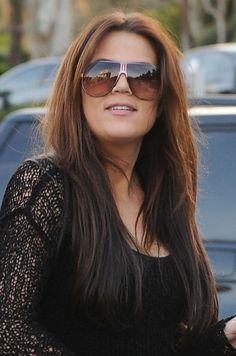 Khloe Kardashian's long, straight hairstyle