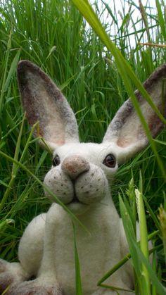 Needle Felted Snow Hare Figure MischiefsManifold