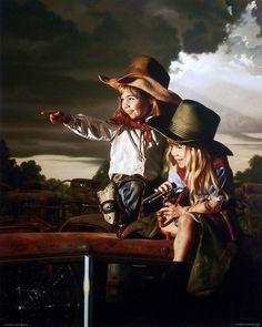 Bob Byerley Children's Art Print Cowgirls playing sheriff