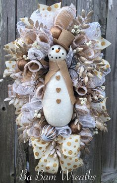 Burlap Christmas Swag Snowman Wreath Winter Swag by BaBamWreaths