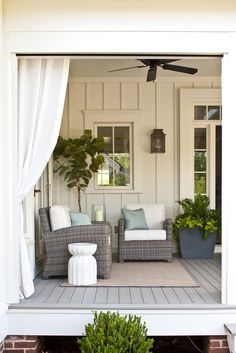 Fun wood for the back house, plus. Retractable motorized Executive Screens and Curtains on Front Porch (by Phantom® installed on Southern Living Idea House Outdoor Rooms, Outdoor Living, Outdoor Decor, Southern Living House Plans, Outdoor Wicker Furniture, Porch Furniture, Garden Furniture, Outside Living, Home Living