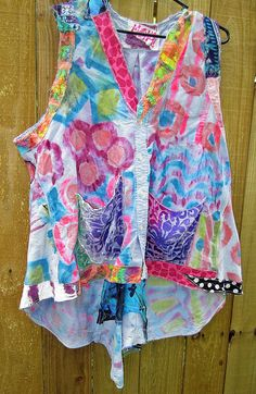 Hand Painted Upcycled Plus size cotton Vest by monapaints on Etsy, $269.00