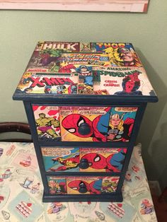Upcycled, decoupaged bedside drawers, marvel