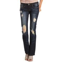 Machine Jeans Destroyed Bootcut Jean ($8.49) ❤ liked on Polyvore featuring jeans, pants, women, dark wash denim, boot-cut jeans, destroyed bootcut jeans, charlotte russe jeans, dark-wash jeans and charlotte russe