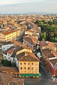 Pisa,Tuscany, Italy. View taken from the top of the 'Leaning' Tower of Pisa.