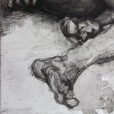 Femme au repos gravure en taille-douce preuve de travail imprimer de dessin de nu de pointe sèche