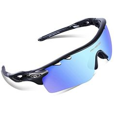 f0a042ce8e RIVBOS 801 Polarized Sports Sunglasses Sun Glasses with 5 Interchangeable  Lenses for Men Women Baseball Cycling