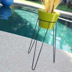 Modern Mid Century Case Study Eames Era Style Pottery Hairpin Tripod Base Planter Architectural White