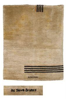 IVAN DA SILVA BRUHNS (1881-1980)   TAPIS, VERS 1930   En laine, de forme rectangulaire, à décor de lignes noires et orange sur fond écru  200 x 160 cm. (78¾ x 63 in.)   Signé Da Silva Bruhns au milieu, le long d'un bord (hva)
