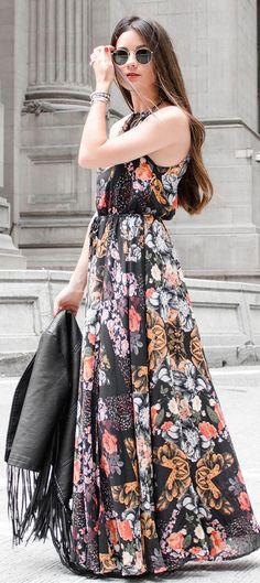 #summer #girly #outfitideas | Black Floral Printed Maxi Dress