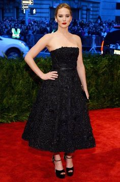 Jennifer Lawrence opted for her signature Dior look in a jewelled ballgown. Met Gala 2013.