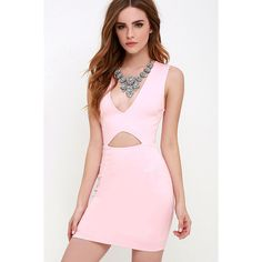 Cleared for Take-Off Light Pink Bodycon Dress ($48) ❤ liked on Polyvore featuring dresses, pink, cutout bodycon dress, pink sleeveless dress, plunge bodycon dress, knit bodycon dress and v neck bodycon dress