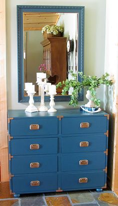 This dresser was originally brown and missing many pieces, looks great in blue and with the new handles and framing pieces
