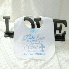 Personalized christening bib Gift from God boy by lovablekreations, $9.99 elegant baptism bib, unique bib, baptism burp cloth, cross bib