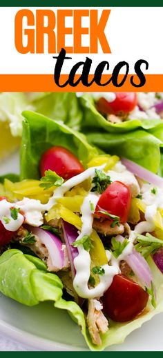 Dinner in 20 minutes or less?! Yes, please! Try these Greek Tacos with Feta Cheese and you'll be in and out of the kitchen before you know it. With shredded chicken, feta, grape tomatoes, red onion, and pepperoncini topped off with a delicious Tzatziki Sauce, you have a meal that is sure to leave your taste buds singing. Tzatziki Sauce, Healthy Gluten Free Recipes, Greek Chicken, Gluten Free Dinner, Chicken Tacos, Shredded Chicken, Taste Buds, Feta, Tomatoes