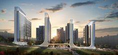 현대엔지니어링, 고척4구역 힐스테이트 루미너스 @Seoul Building Facade, Building Design, Round Tower, San Francisco Skyline, Gate, Skyscraper, New York Skyline, Competition, Urban