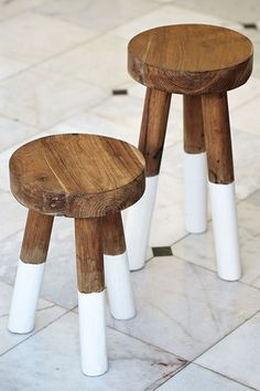 """Instant Home Upgrade: 9 Brilliant Design Picks Under $100 #refinery29 http://www.refinery29.com/nina-freudenberger#slide-10 """"Put these adorable little tables next to your sofa or side chair for a nautical feel."""" Serena & Lily Dip-Dyed Stools, $58-$68, available at Serena & Lily. ..."""