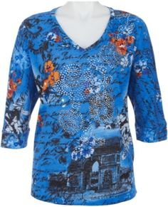 Lightweight and fashionable, this 3/4 sleeve top by T