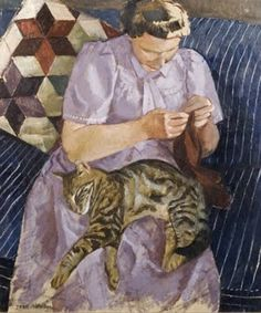 John Aldridge (1905-1983) - Lady with cat, 1950 - Oil/Gouache