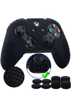 9CDeer 1 Piece of Studded Protective Silicone Cover Skin Sleeve Case + 8 Thumb Grips Analog Caps for Xbox One/S/X Controller, Compatible with Official Stereo Headset Adapter. Video Games, Xbox One, Accessories