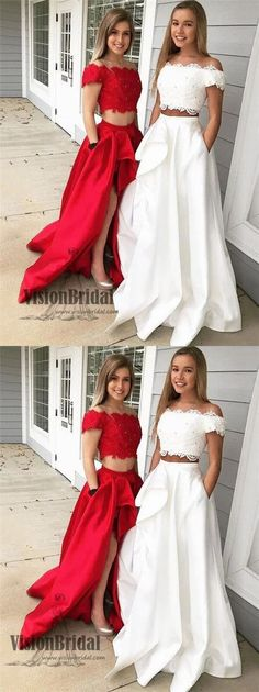 A-Line Off-the-Shoulder Sleeveless Sweep/Brush Train With Lace Satin Two Piece Dresses Sleeveless Dress, Lace Dress, Dress A-Line, Two Pieces Dress Fashion Dresses 2019 Two Pieces Dress, Prom Dresses Two Piece, Prom Dresses For Teens, Unique Prom Dresses, A Line Prom Dresses, Formal Dresses For Women, Cheap Dresses, Homecoming Dresses, Sleeveless Dresses