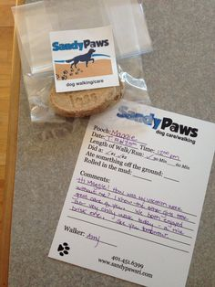 Report Card and treat for Maggie, our very first Pooch Pal at Sandy Paws #dogs #dogwalker #sandypaws