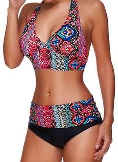 Plus Size Polyester Halfter Farbblock Bikinis Plus Size Bademode Bademode - Damen Mode Bikini Sets, Bikinis, Bikini Swimwear, Swimsuits, Sexy Bikini, Plus Size Bademode, Color Block Bikini, Plus Size Swimwear, Woman Clothing