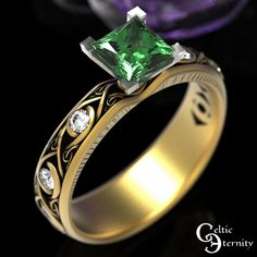 Celtic Gold Engagement Ring Emerald Ring with Accent Stones | Etsy Mens Celtic Wedding Bands, Wedding Men, Celtic Engagement Rings, Princess Cut Engagement Rings, Thing 1, Celtic Rings, Jewelry Trends, Emerald, Rings For Men