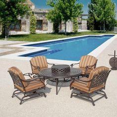 Brentwood 6PC Set Motion Club Chair Outdoor Patio Garden Furniture Fire Pit  #sumbrela