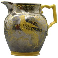 English antique canary yellow and silver resist lustre pottery pitcher, c. 1815