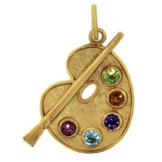 semi-precious painter's paalette and brush 14k gold charm