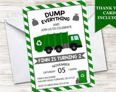 Trash or garbage truck favors trash cans from amazon my parties garbage truck invitation invite 5x7 green trash truck recycle kids boys birthday party digital any age filmwisefo Image collections