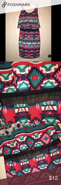 Tribal print dress with mesh midriff Tribal print dress with mesh midriff Francesca's Collections Dresses