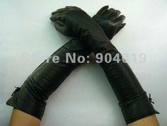 45 cm black leather gloves