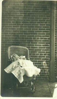 1923 Jeanne Karsnitz Baby Girl in Wicker Stroller by AlaskaVintage