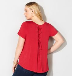 LACE UP BACK SOLID TEE, Red