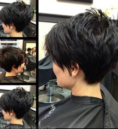 Choppy at the top and sleek in the back! This short hairstyle was created by Bloom Trendsetter & Beauty pro Staiy Tran