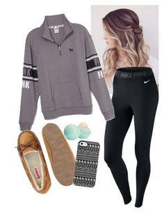 Cute & Casual by oliviagillis130 on Polyvore featuring NIKE, Victoria's Secret PINK, Uncommon and Eos