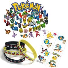 24 Assorted Pokemon Plastic Figures Great for party favors or table decorations 12 Blue Youth Wristbands 32 Temporary Tattoos